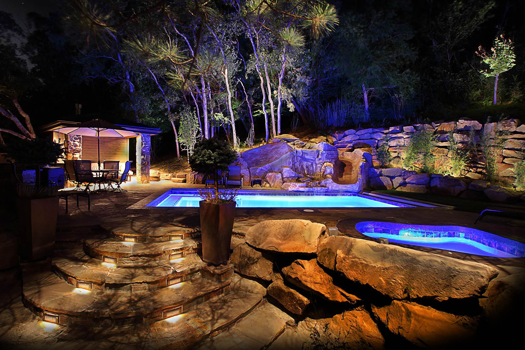 Christmas and holiday lighting salt lake city park city utah for Pool design utah