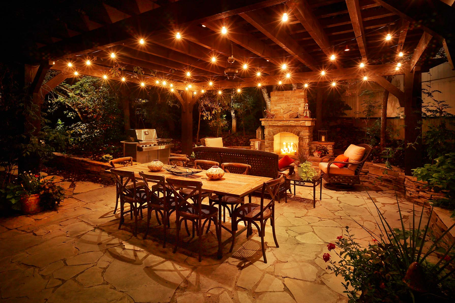 Patio pergola and deck lighting ideas and pictures for Terrace lighting