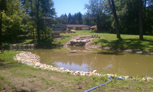 Bass pond construction livonia michigan michigan bass for Bass pond construction