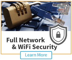 full protection home network security icon with cables and combination lock