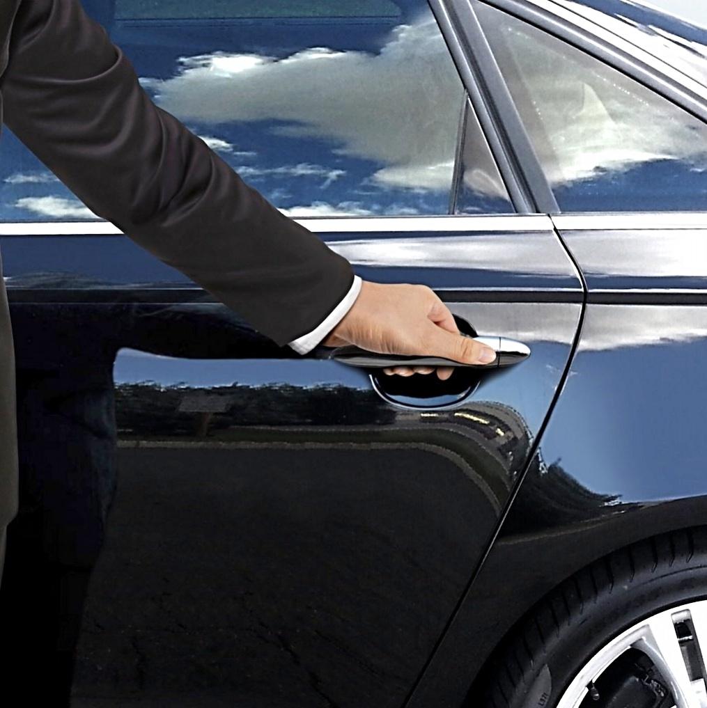 Chauffer black car door cybersecurity for VIPs