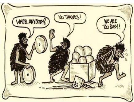 cavemen cartoon no time for new wheel