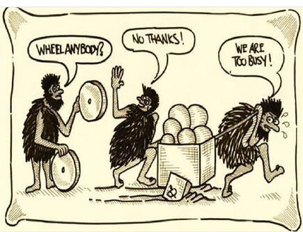 cavemen cartoon no time for new wheel