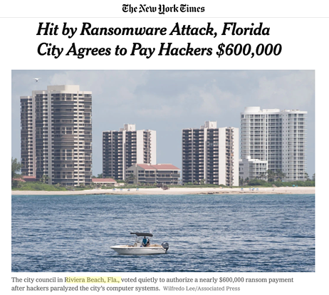 New York Times article on Riviera Beach ransomware