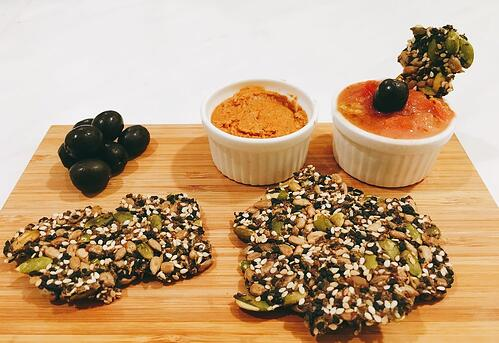 SESAME CRACKERS & DIPS PLATTER| UFIT KITCHEN