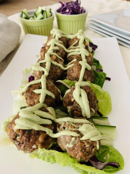 UFIT Recipes: Pork and Beef Meatballs with Creamy Avocado Sauce