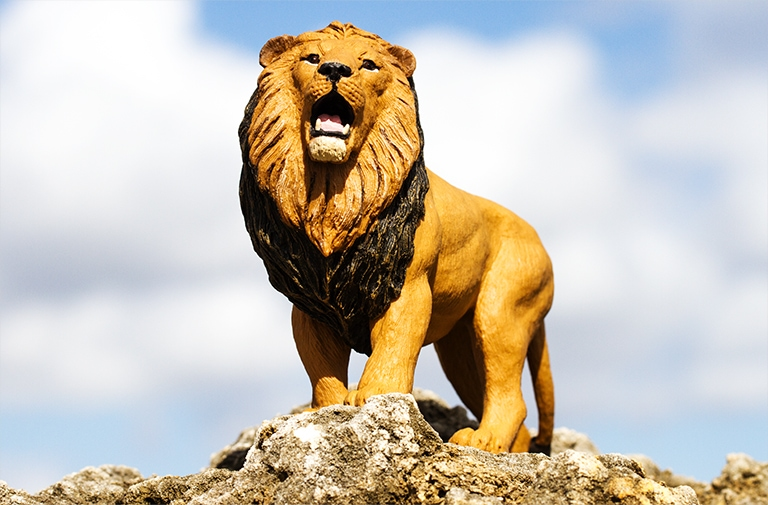 Lion toy standing on rocks