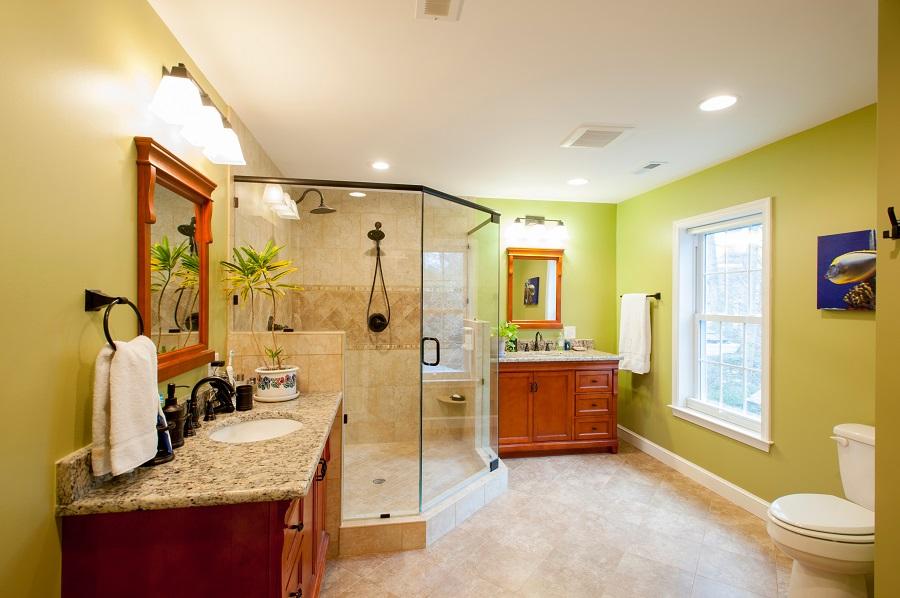 designer master bathroom divided sinks custom shower fairfax va