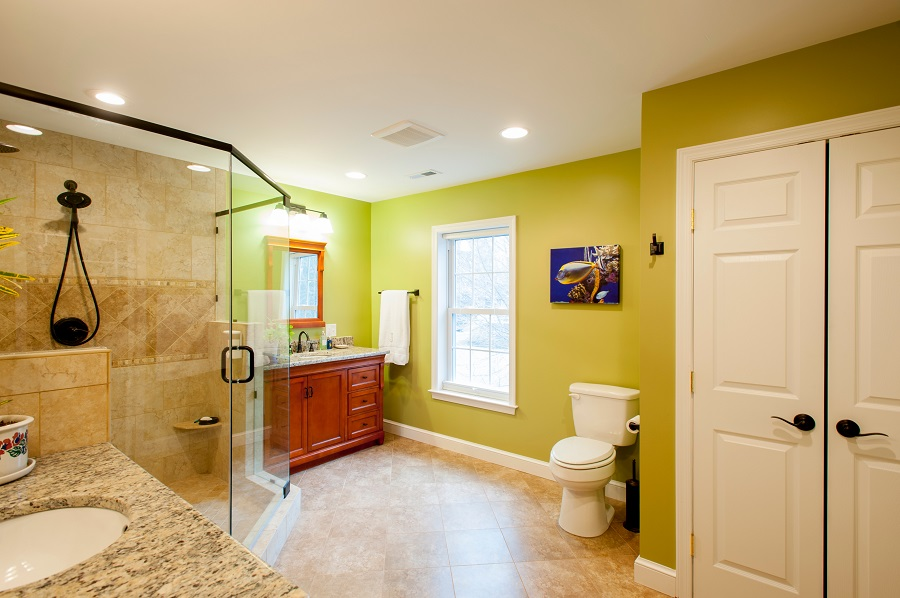 designer master bathroom in green divided sinks custom shower Fairfax VA. Professional screen porch contractor in Fairfax  VA with SCREENEZE
