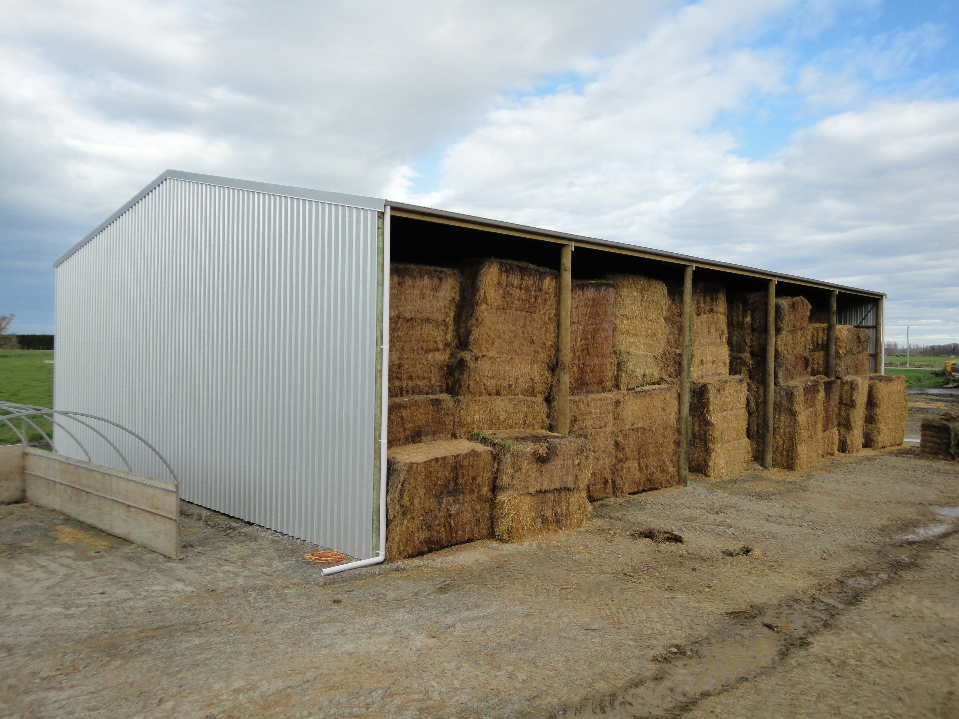 shed open at front for storing hay
