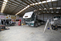 The height of this shed allows large trucks to fit in easily