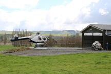 Commercial helicopter shed