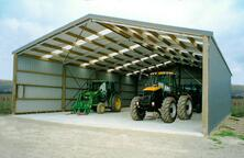 Open front tractor shed