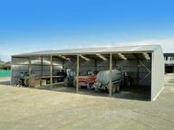 Coloursteel implement shed with gable