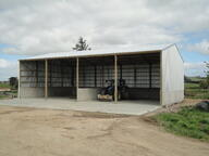 Open front bulk storage shed