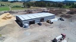 Bulk storage shed with 7 bays