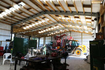 Timber and steel shed roof
