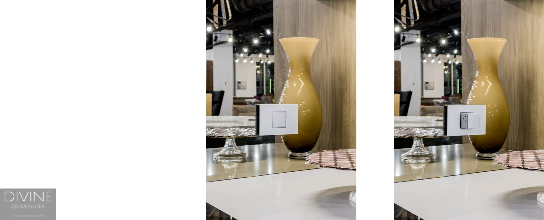 pop-out, pop-up, legrand, le-grand pop out, quartzite countertops, yellow vase, modern, modern kitchen, modern design, boston, massachusetts, divine design center, showroom, outlets, outlets in a kitchen