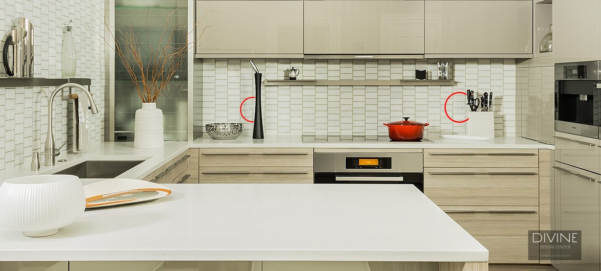 modern kitchen, undermount sink, engineered quartz, brushed nickel, stainless steel appliances, handles and pulls, TRUFIG outlets, outlets, tile back-splash, Boston, Massachusetts