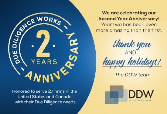 DDW is entering our 3rd year.  Honored to serve 27 firms in the US and Canada.  Thank you and Happy Holidays.