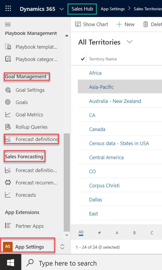 Simple Sales Forecasting - Microsoft Dynamics CRM - sales hub - demo - forecast definitions - sales forecasting