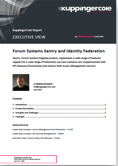 KuppingerCole-Executive-View---Forum-Sentry and Identity Federation