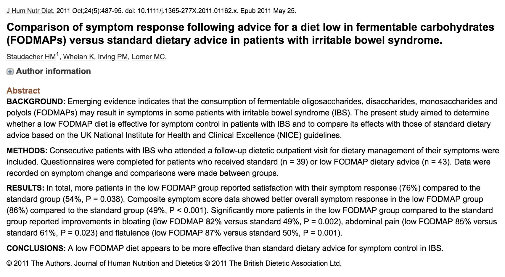 low fodmap diet study