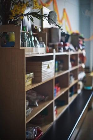 shelves on left wall