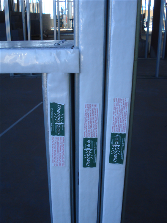Thermablok insulation strips installed in a commercial building