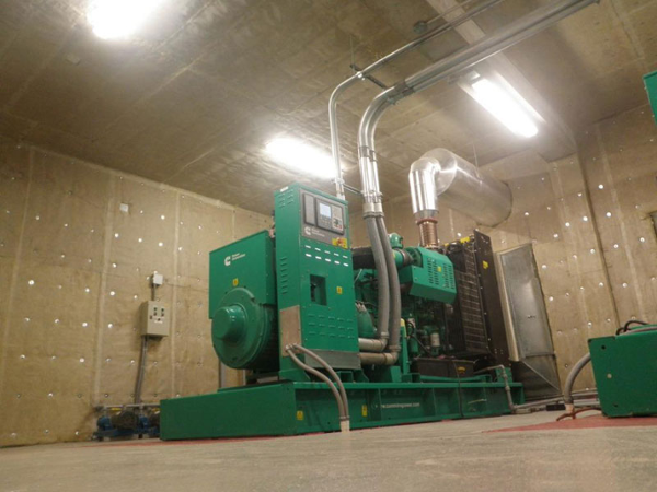 Noise is dramatically reducedreduced by adding QuietFiber to interior walls of generator room.