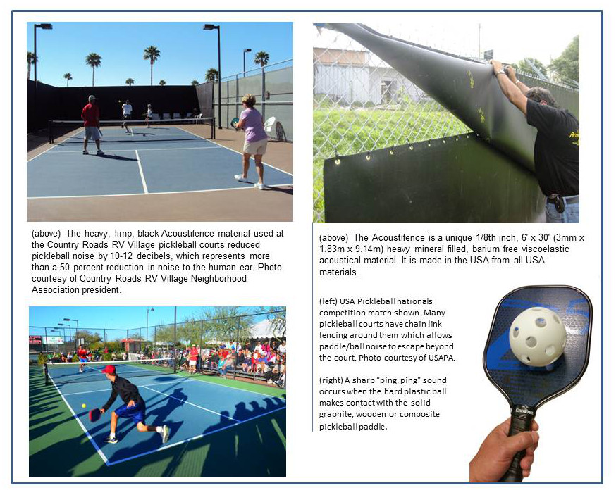 noise from pickleball lessened with acoustifence noise barrier