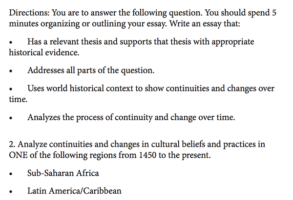 ap world history comparative essay outline