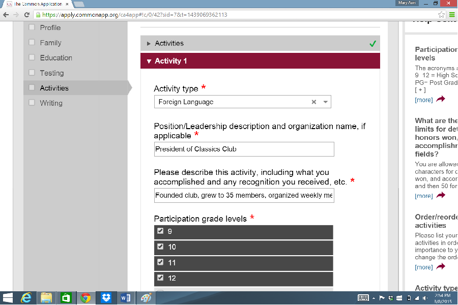 """common app extracurricular activity on babysitting Interview with an admissions officer: the common app it's possible their number one activity might be """"babysitting my and others on extracurricular."""