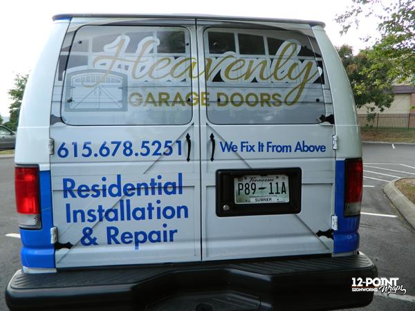 A heavenly advertising vehicle wrap for heavenly garage doors - Garage door vinyl wrap ...