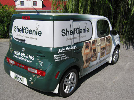 Custom full car wrap advertising on Nissan Cube