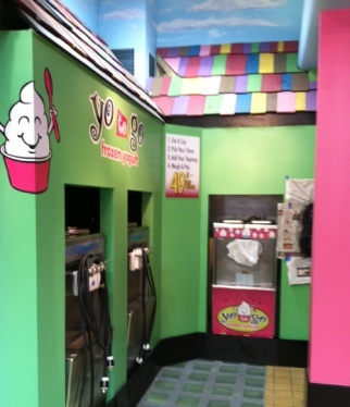 custom yogurt shop interior signs