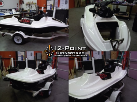 Custom jetski Wrap, custom vehicle wrap, 12 point signworks