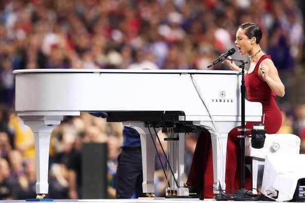 Alicia Keys piano wrap at the Super Bowl Credit: (Getty Photo)