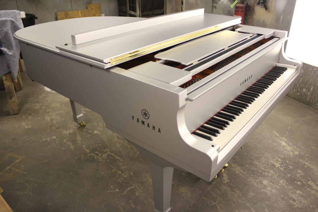 Super Bowl vinyl piano wrap after re-assembly