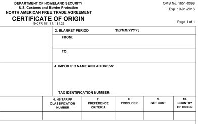 Update Available for the NAFTA Certificate of Origin