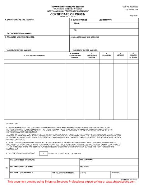 Doc595742 Certificate of Origin Forms Certificate of Origin – Generic Certificate of Origin