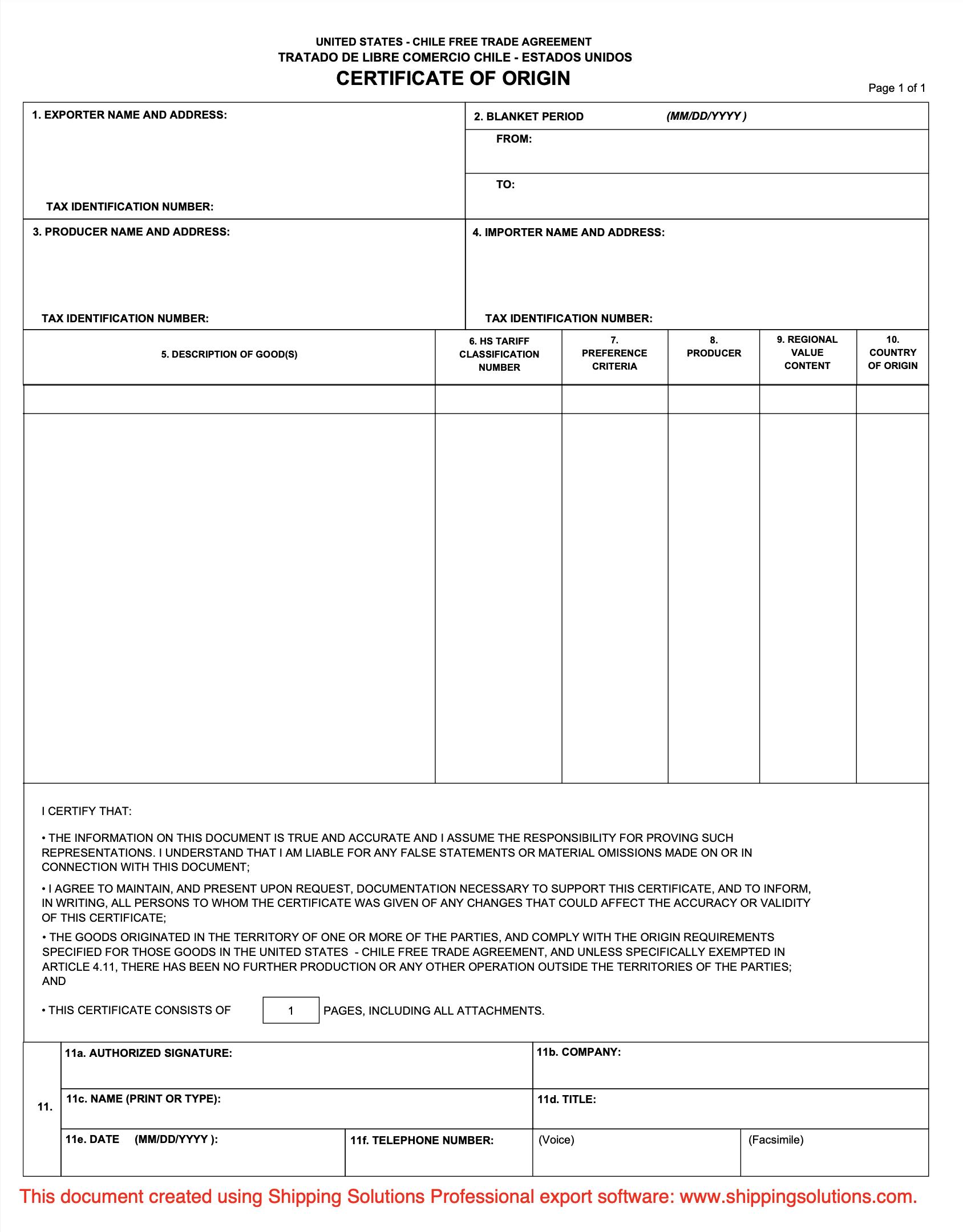country of origin certificate template