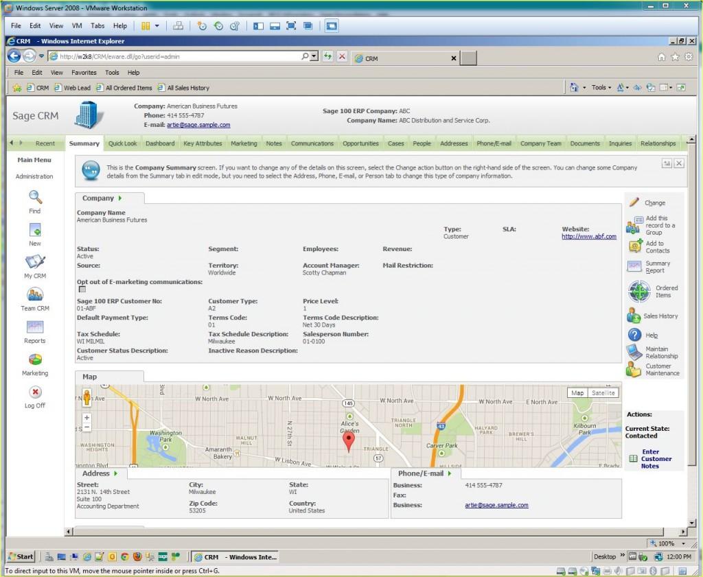 SageCRM Account Screenshot (2)
