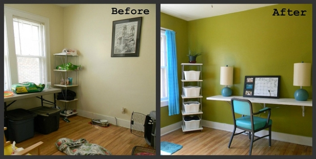 Before and After of a messy work space