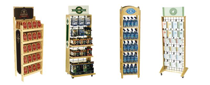 Wodd display racks, water display, pet display, coffee display, candle display