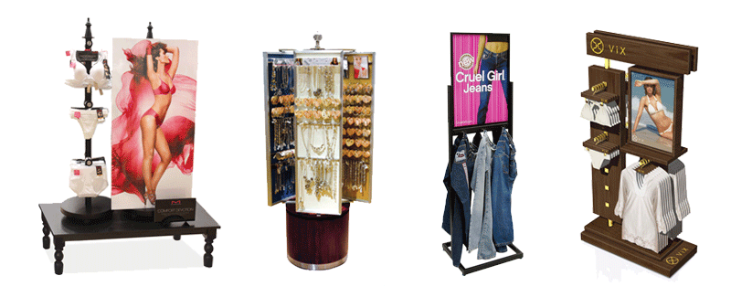 Garment displays, nesting tables, jean rack, womens clothing display, jwelry display