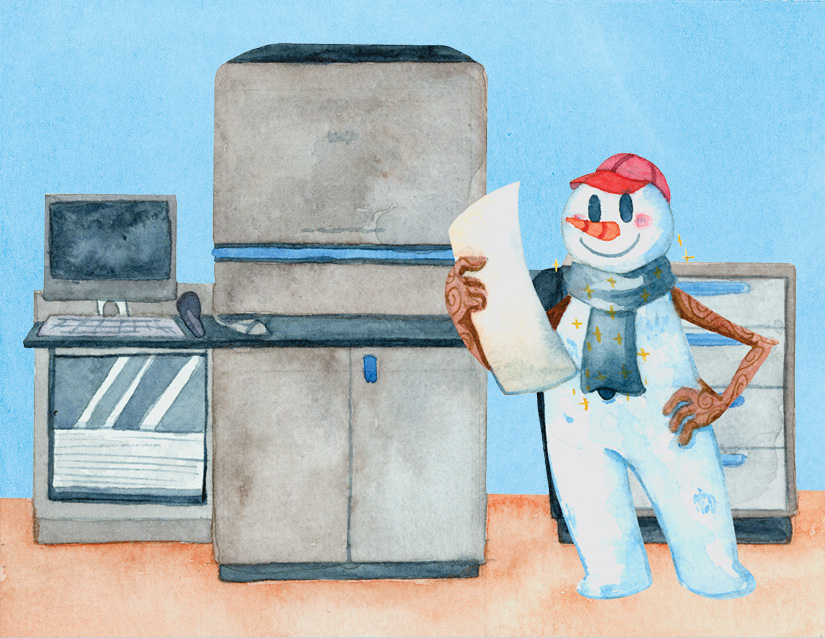 Frosty the Pressman - A Printing Tale for a Winter's Day