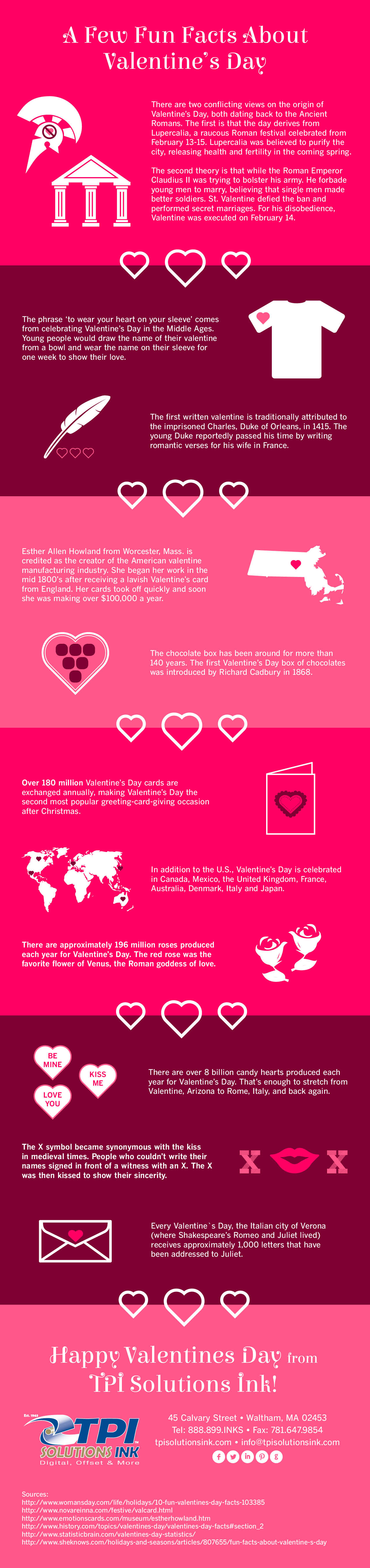 Valentine's Day Fun Facts Infographic by TPI Solutions Ink #infographic #valentines