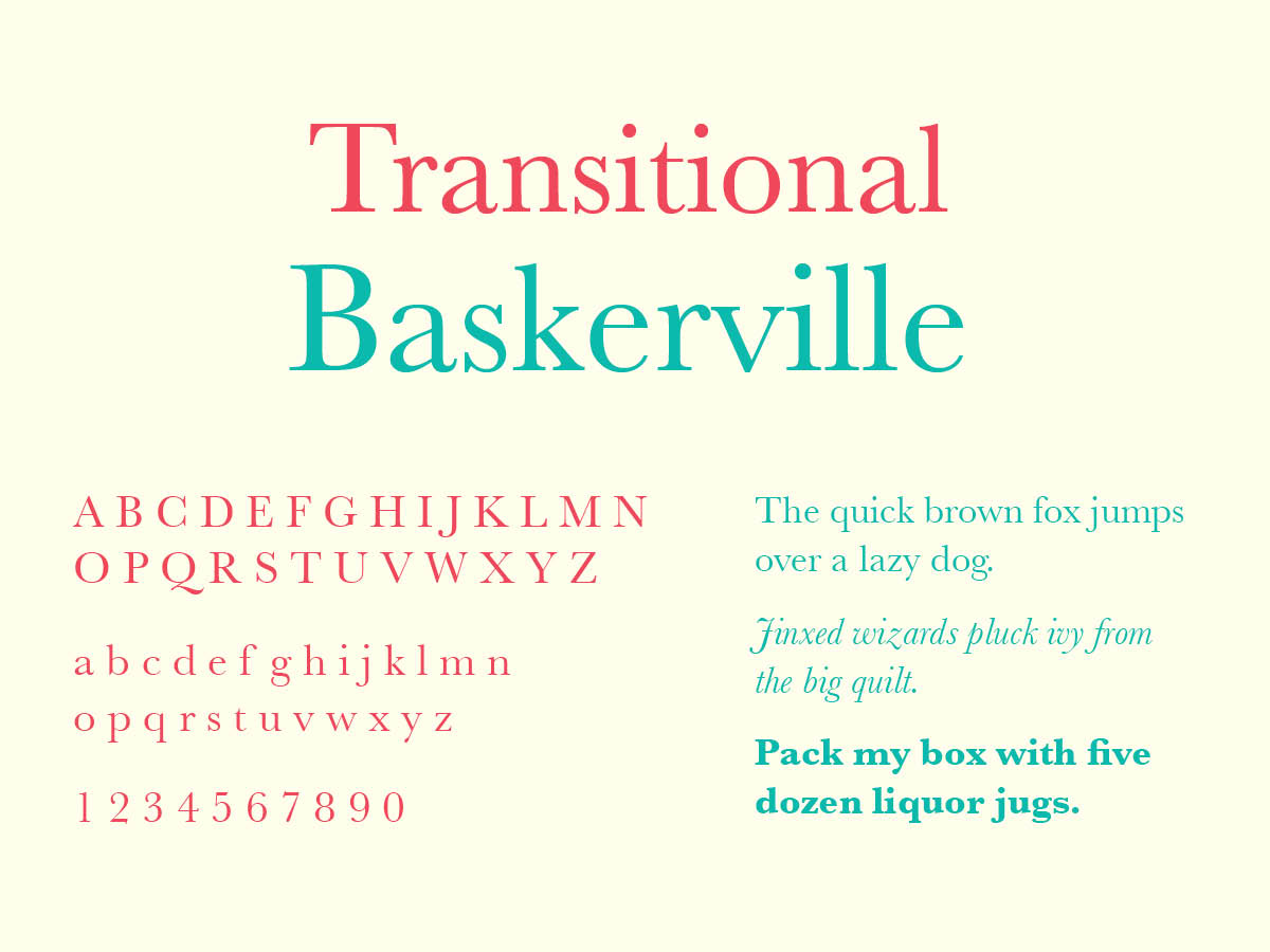Transitional Typography, Baskerville