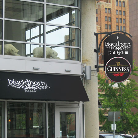 Blackthorn Pub & Grill restaurant sign